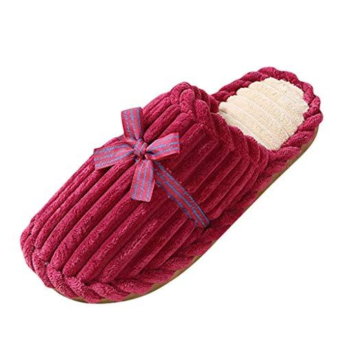 LQQSTORE Damen Hausschuhe Winter Schmetterling Knoten Warm rutschfest Plüsch Pantoffeln Indoors Schuhe (Wein, 38)