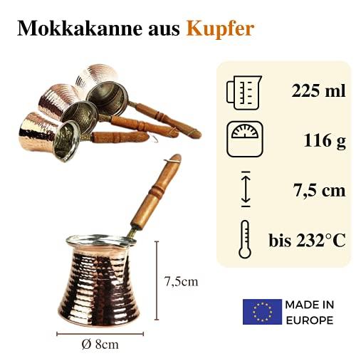 Copper Garden Mokkakanne aus Kupfer I Ibrik aus lebensmittelecht verzinntem Kupfer mit Holzgriff I Mittelgroße Kupferkanne zum Milchaufwärmen (für Kaffee) oder zum echten Mokka Kochen - 3