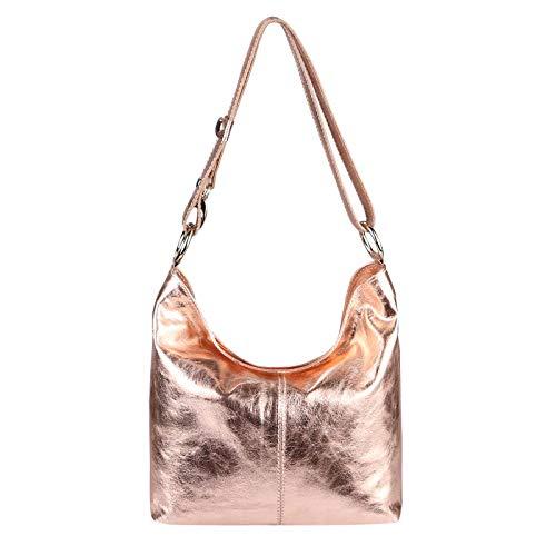 OBC DAMEN LEDER TASCHE Metallic Shopper Hobo-Bags Schultertasche Umhängetasche Handtasche Henkeltasche Ledertasche Damentasche Silber (Rosa-Metallic)