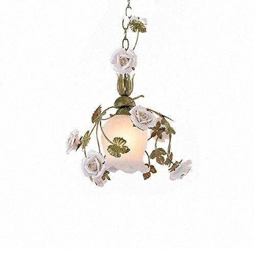 MEGSYL bloemen pastoraal glas plafondlamp, Europese stijl eenvoudige kunst decoratieve kroonluchter, woonkamer slaapkamer restaurant plafondlamp, single lichtbron retro ijzer hangende lamp, gesneden keramiek Rose kroonluchter, wit