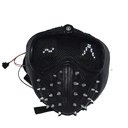 Watch Dogs 2 Mask Marcus Wrench LED Light Rivet Face Mask Cosplay Full Face Mask (with LED Light)
