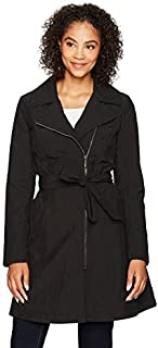 Amazon Brand - Lark & Ro Women's Asymmetrical-Zip Raincoat with Belt