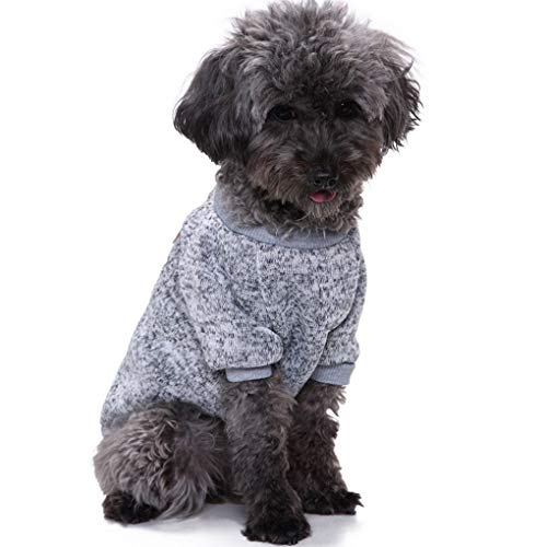 CHBORLESS Pet Dog Classic Knitwear Sweater Warm Winter Puppy Pet Coat Soft Sweater Clothing for Small Dogs (L, Grey)
