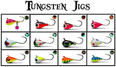 Glow UV Tungsten ICE JIGS - FAB 12 Pack 3mm 0.8g #16 Hook Tungsten Ice Fishing and Fly Fishing Jig Lure Bait