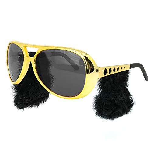 Skeleteen Gold Rockstar Costume Glasses - Gold Celebrity Aviator Shades with Sideburns - 1 Pair