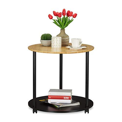 Relaxdays Beistelltisch rund, mit Rollen, fahrbar, modernes Design, Bambus, Wohnzimmer, HxD: 59 x 60 cm, schwarz/natur