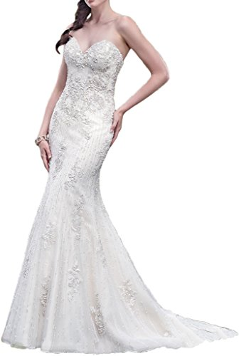 Romantische Braut Edel Meerjungfrau-Linie Herz-Ausschnitt Schleppe Organza Hochzeitskleid Brautkleid mit Perlenstickerei-48 Weiss