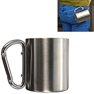 Panrot Camping Outdoor Picnic & BBQ - 220ml Portable Stainless Steel Mug Camping Cup Carabiner Double Wall - 1 x Stainless...