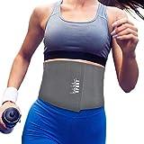 Nicole Miller Waist Trainer for Women 10' Sweat Belt Waist Trimmer Stomach Slimming Body Weight Shaper Exercise Equipment Adjustable Belt - Gray