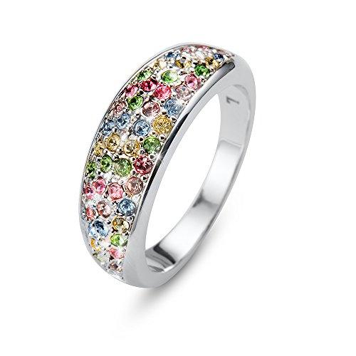 Oliver Weber | Anello Floral rodio Multi XL | Donna | Decorato con Cristalli di Swarovski | Designed in Austria | 41142XL