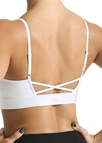 FITTIN Reggiseno sportivo imbottito per le donne - Sexy Longline senza fili Reggiseno sportivo allenamento Yoga Reggiseno atletico palestra Crop Top - bianco - S