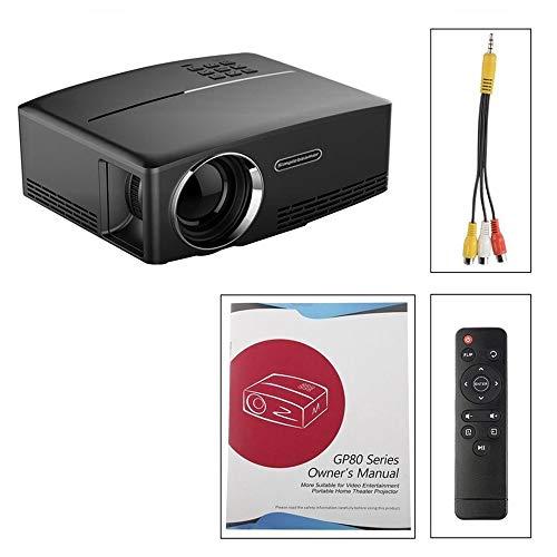 GP80 Mini tragbarer 1080P Projektor LED LCD Projektor VGA HDMI Beamer Heimkino 1800 LM Heimkino USB Plug & Play - Schwarz