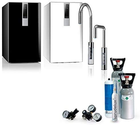 SPRUDELUX® Untertisch-Tafelwasseranlage Black & White Diamond Edition + Drei Wege Wasserhahn U-Auslauf für Küche. Profi-Wassersprudler für den Privathaushalt. Mineralwasser (Schwarz, Ohne CO2 Flasche)
