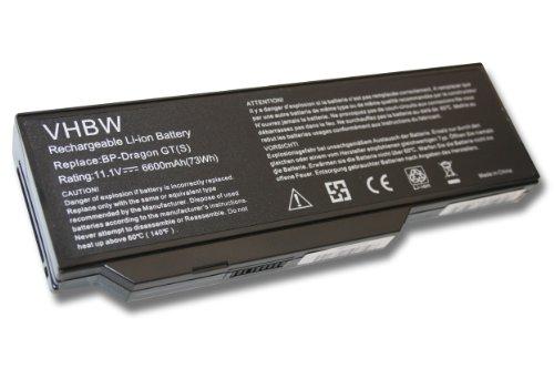 vhbw Batterie LI-ION 6600mAh 11.1V Noire pour Packard Bell EasyNote W3424 etc. remplace MIM2070, MIM2240, MIM2270, MIM2280