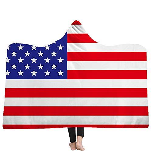 Kuscheldecke Winter Warm Krieger Microfaser Flanell Wearable Decken/Sofadecke/Reisedecke USA Flagge der Vereinigten Staaten Hooded Blanket