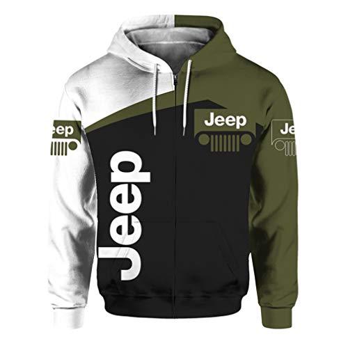 Felpa Casual con Cappuccio Unisex A Maniche Lunghe Primavera E Autunno con Logo Jeep 3D Digitale con Cerniera Stampata (1,XL)