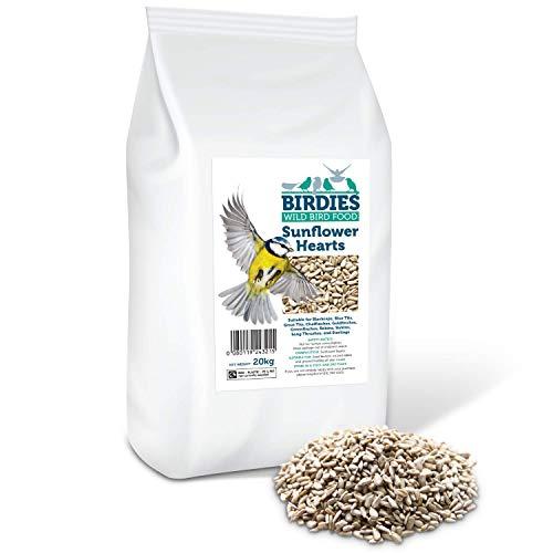 Birdies Sonnenblumenherzen - Vogelsamen für Wildvögel, 20 kg, Premium-Hülsenfrei, Bäckerei-Kern