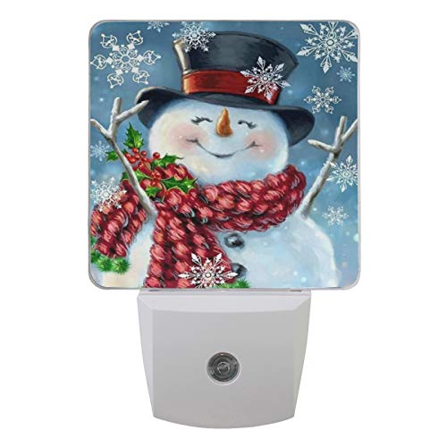 Vdsrup Winter Snowflakes Snowman Night Light Set of 2 Christmas Holly Berry Plug-in LED Nightlights Auto Dusk-to-Dawn Sensor Lamp for Bedroom Bathroom Kitchen Hallway Stairs