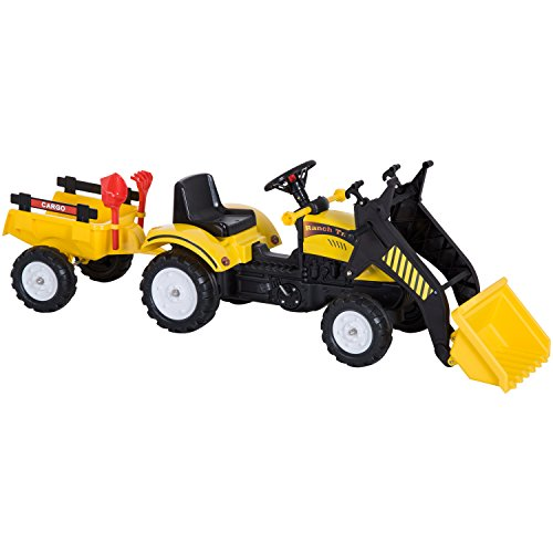 HOMCOM Kinder Tretauto Traktor Trettraktor mit Fontlader und Anhänger ab 3 Jahre Kinder 167 x 41 x 52cm