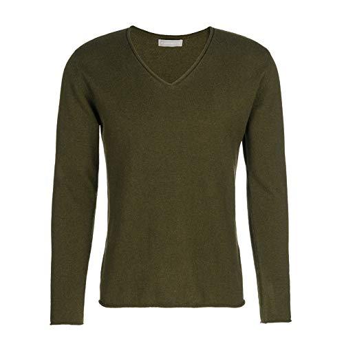Barefoot Living Kaschmir Pullover Nick für Herren in der Farbe Oliv Gr L Pullover aus Kaschmir Cashmere Pullover Cashmerepulli flauschig extra weich
