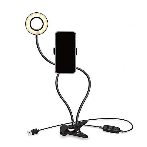 Leepesx Selfie Ring Light zwanenhals lamp dimbaar 10 helderheid instelbaar 3 kleuren licht wit / warm / neutraal oplaadaansluiting USB bureaulamp met klem