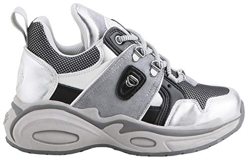Buffalo Damen Sneaker Cray, Frauen Low-Top Sneaker, Freizeit Halbschuh strassenschuh schnürer schnürschuh sportschuh Dame-n,Silver,39 EU / 6 UK