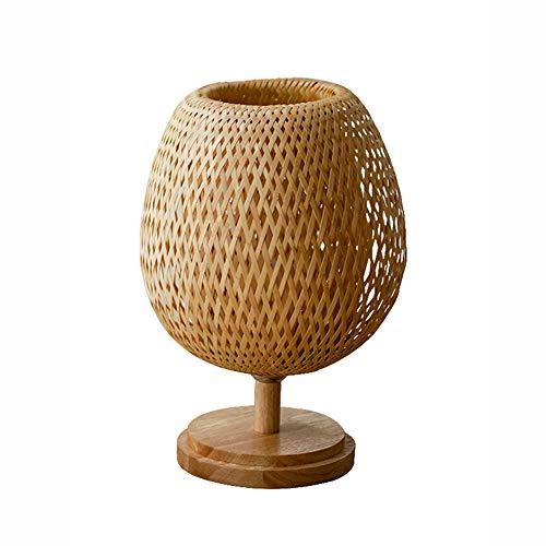 Augu Japanischer Stil Massivholz dekorative Tischlampe kreativen Holz Nachttischlampe Massivholz E27 handgemachte Bambus Wicker Rattan Lampenschirm,A