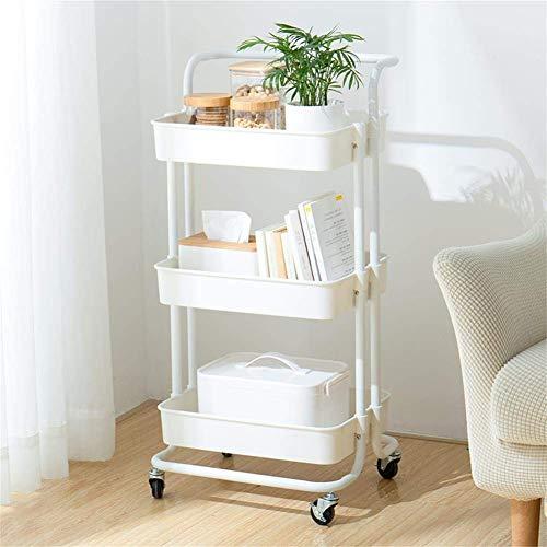 MICOE 3-Tier Servierwagen Küchenwagen Rollwagen praktischem Griff und ABS Ablagekorb Büro mit Rollen 3 Etagen H-T001W Weiß