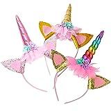 3 cintas para el pelo de unicornio para niños, cintas para el pelo de unicornio, con accesorios para el pelo y orejas de cuerno de unicornio, para Pascua, cumpleaños, fiestas, etc