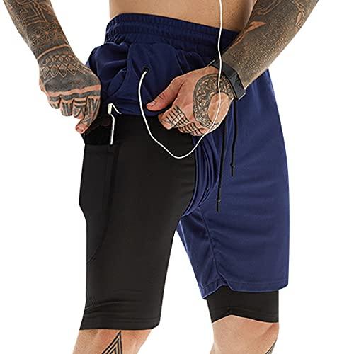 UMIPUBO Deporte Pantalones Cortos para Hombre 2 en 1 Pantalones Cortos de Gimnasio con Forro de Bolsillo Incorporado Fitness Secado Rápido Transpirables Hombre Secado Rápido Shorts Deportivos