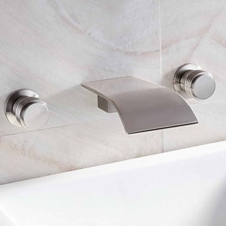 Waschbecken Wasserhahn Wasserfall Wasserhahn weit verbreitet zeitgenssisches Design (Nickel gebürstet Oberflchenbehandlung)