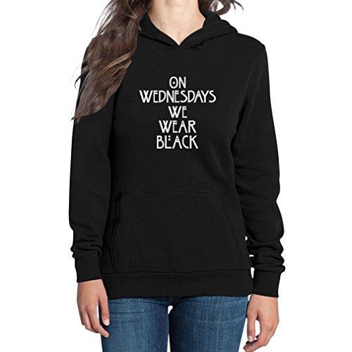 On Wednesdays We Wear Black Damen Schwarz Medium Kapuzenpullover Hoodie - American Story Lustiges Horror Shirt