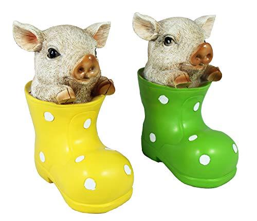 colourliving Figur Schaf im Gummistiefel Figur Schwein im Gummistiefel Figur Katze im Gummistiefel 2er Set Gummistiefel Deko Garten Bunte Gartenfiguren (Schwein)