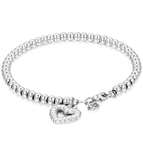 JewelryWe Bracciale Luck Donna Braccialetto Acciaio Inossidabile, Palle e Il Cuore hueco per buona Fortuna, Argenteo