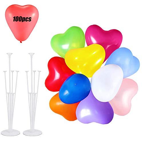 MEIXI 100 Piezas Globos de Corazon y 2 Piezas Soporte de Globos Coloridos Globos de Pastel Látex para Bodas Fiestas de Cumpleaños y Decoración