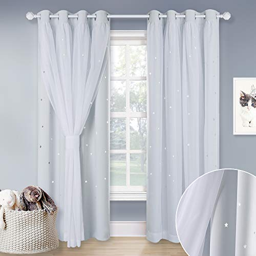 NICETOWN Bedroom Layered Room Darkening Curtains, Starry Cut Curtain with Sheer for Kids Nursery Living Room (Greyish White, W52 x L84, 1 Pair)