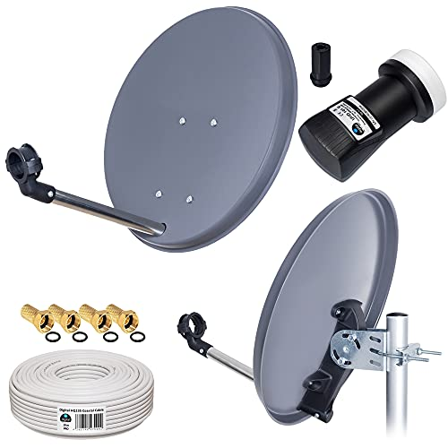 HB-DIGITAL Camping Mobil Mini Sat Anlage 40cm Schüssel Antenne + UHD LNB 0,1dB inkl. F-Stecker + 10m Koaxial Kabel für HDTV UHD 3D 4K geeignet