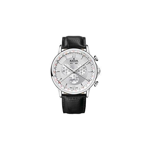 Edox Reloj Cronógrafo para Hombre de Cuarzo con Correa en Cuero 10501-3-AIN
