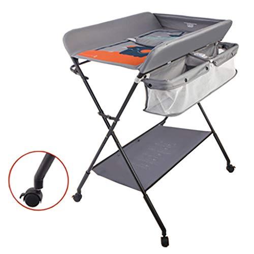 gris Table à langer pour bébé se pliant, Station de bain nouveau-né pour petit espace, Portable Dresser Toddler 0-3 ans, Économiser de l'espace pour la maison et les voyages