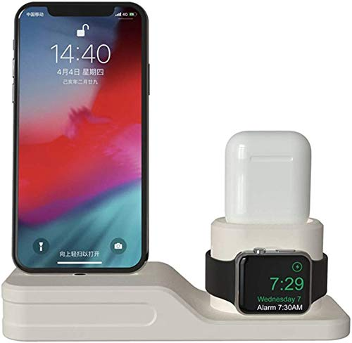 OH Charging Dock Charger 4 in 1 Fit iPhone X Xr Xs Max 8 7 6 Charging Dock Silicone Docking Station for Airpods 2 3 4,Beige Stable and Firm/Beige