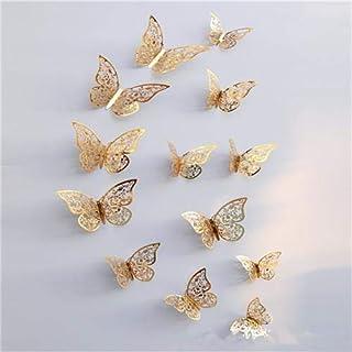 12pcs Metal Texture Hollow Butterfly Design Wall Stickers DIY Butterfly Decor