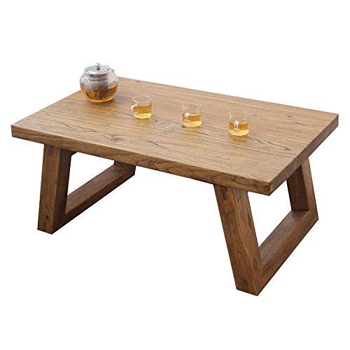 Hermosamente Mesilla Tabla Final Tablas de café Ventana Bay Olmo Viejo de Madera sólida Pequeño China Tabla Japonesa de té de Mesa Piso Sentado Mesa Baja (Tamaño: 70 * 45 * 35 cm) (Size : L)