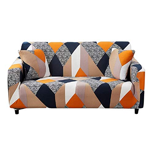 HOTNIU Stretch Sofa Cover Printed Couch Covers for 2 Cushion Couch Slipcovers for Sofas Loveseat Armchair Universal Elastic Furniture Protector with One Free Pillowcase (2 Seat, Grey Geometry)