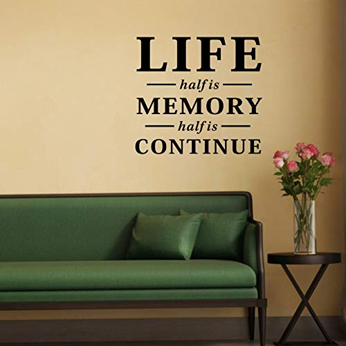 Half of Life is Memory Zitat Wandaufkleber Home Dekoration Wohnzimmerdeko Aufkleber Raumdeko Sticker Deko Sticker Wandaufkleber 58x65cm