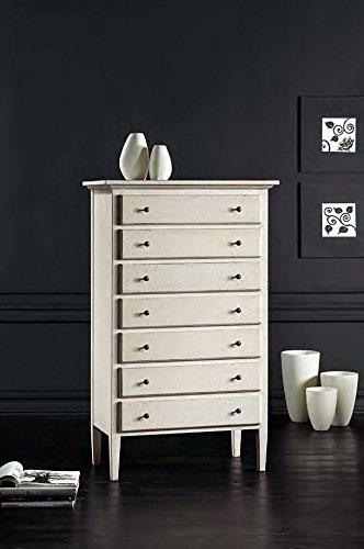 Legno&Design Commode à 7 tiroirs, couleur blanc vieilli classique et moderne.