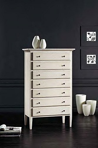 Bois & Design Commode 7 tiroirs Blanc Antique Classique et Moderne