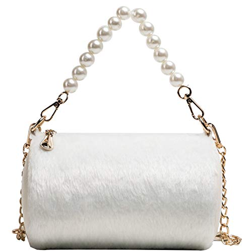 Yeaha shoulder-handbags Handtasche/Handtasche aus Plüsch, für den Winter und Herbst, mit Kette, großes Fassungsvermögen, mit Perlenbesatz, Weiá (weiß), Einheitsgröße