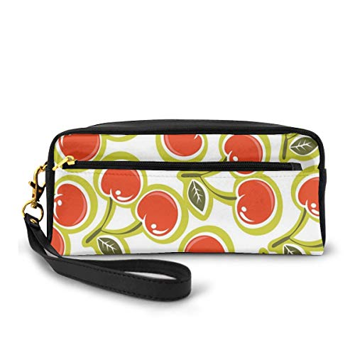 Pencil Case Pen Bag Pouch Stationary,Sweet Yummy Ornate Cherry and Leaves Pattern Fresh Food Fun Art Picture,Small Makeup Bag Coin Purse