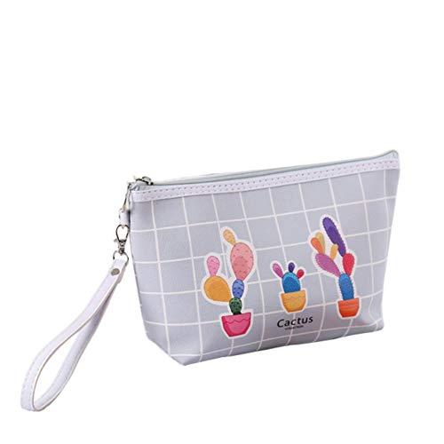 BIGBOBA Sac cosmétique pour dames, sac cosmétique portable multifonctionnel étanche en PU, sac cosmétique pour les mains de cactus (Gris foncé)