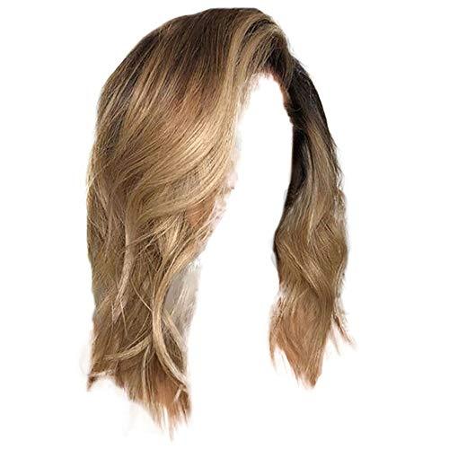 Hexiaoyi Mode Blonde Perücke Pony natürliche Wellen-lange lockige for Frauen Cosplay Partei-Kleid (Color : Brown)